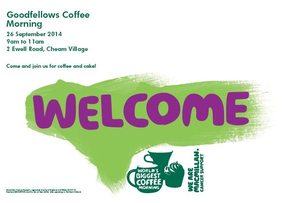 Join us for coffee to raise money for Macmillan